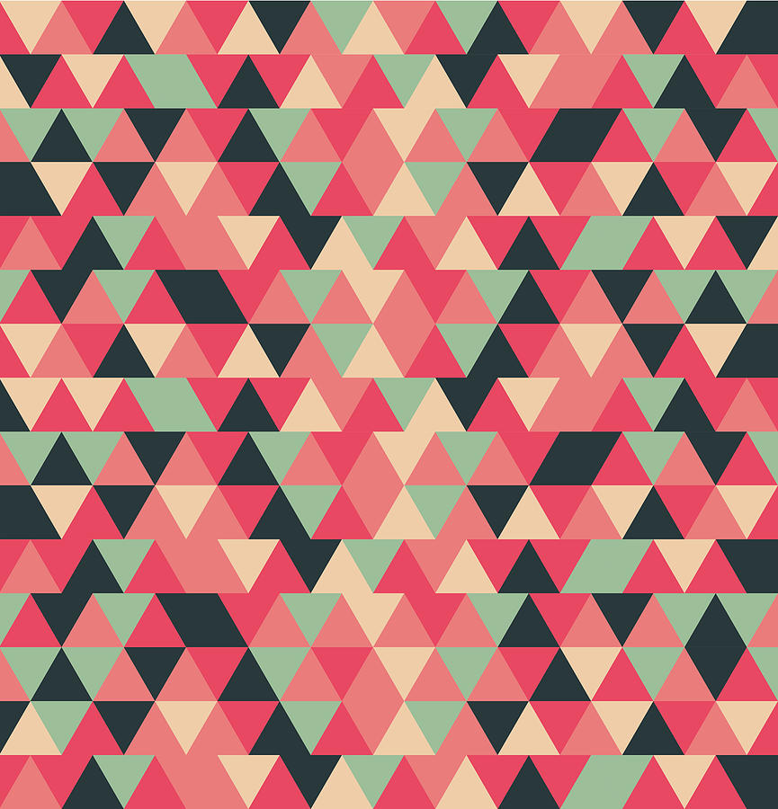 Triangular Geometric Pattern - Warm Colors 13 Mixed Media