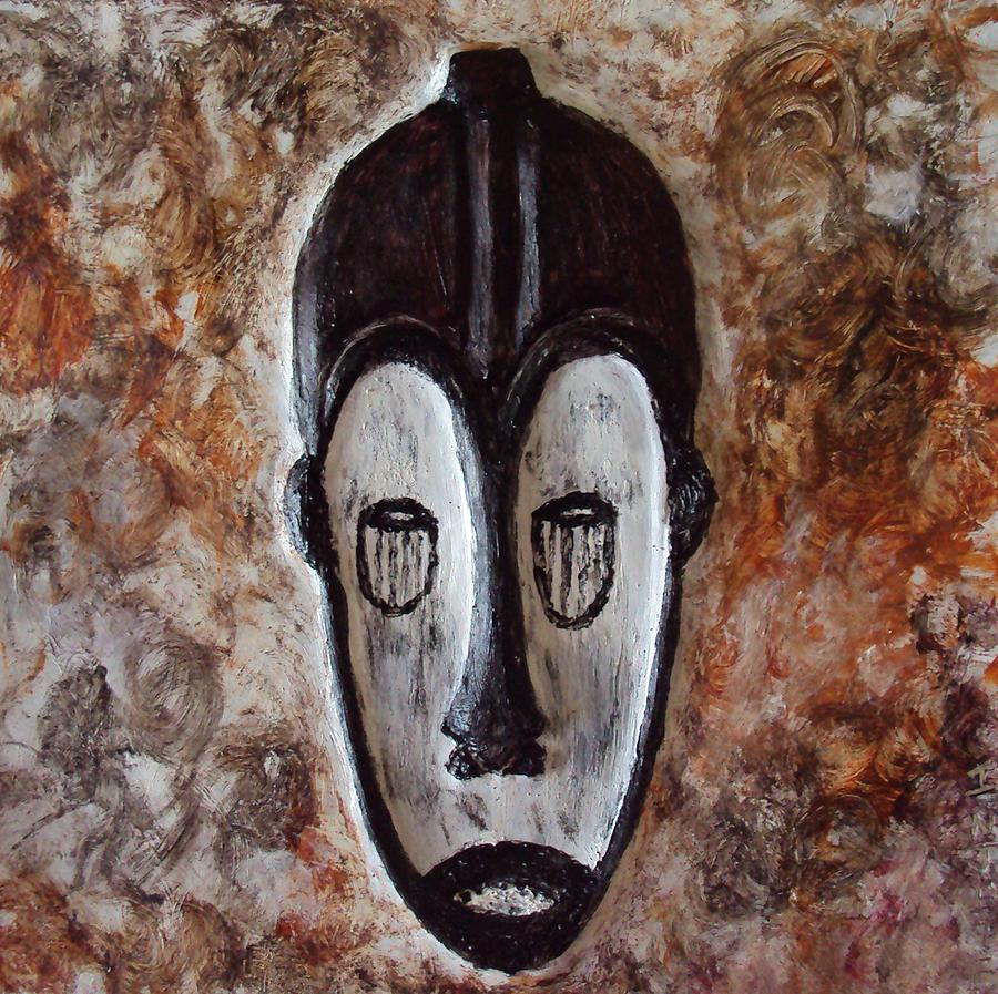 tribal african masks art prints fang ngil mask painting by injete