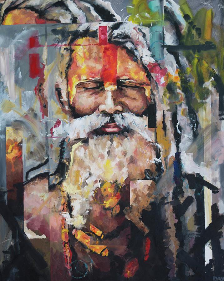Sadu Painting - Tribal Chief Sadhu by Richard Day
