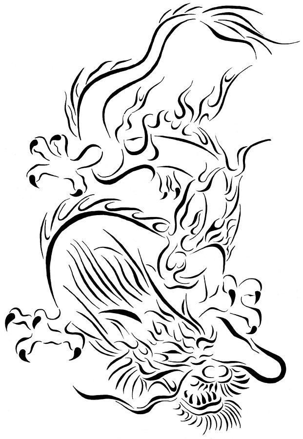 04c3d2e36 Tribal Chinese Dragon Drawing by Tina Barnash