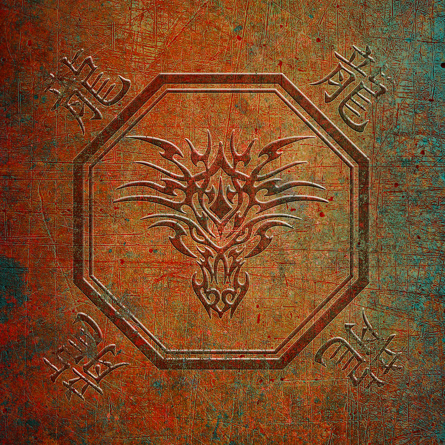 Tribal Dragon Head in Octagon with Dragon Chinese Characters Distressed Finish by Fred Bertheas