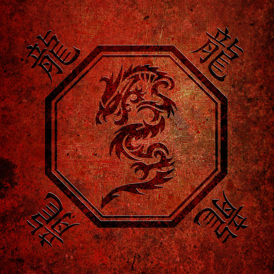 Tribal Dragon In An Octagon Frame With Chinese Dragon Characters Red ...