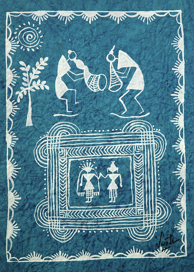 Warli Painting - Tribal Gods by Swati Sharma