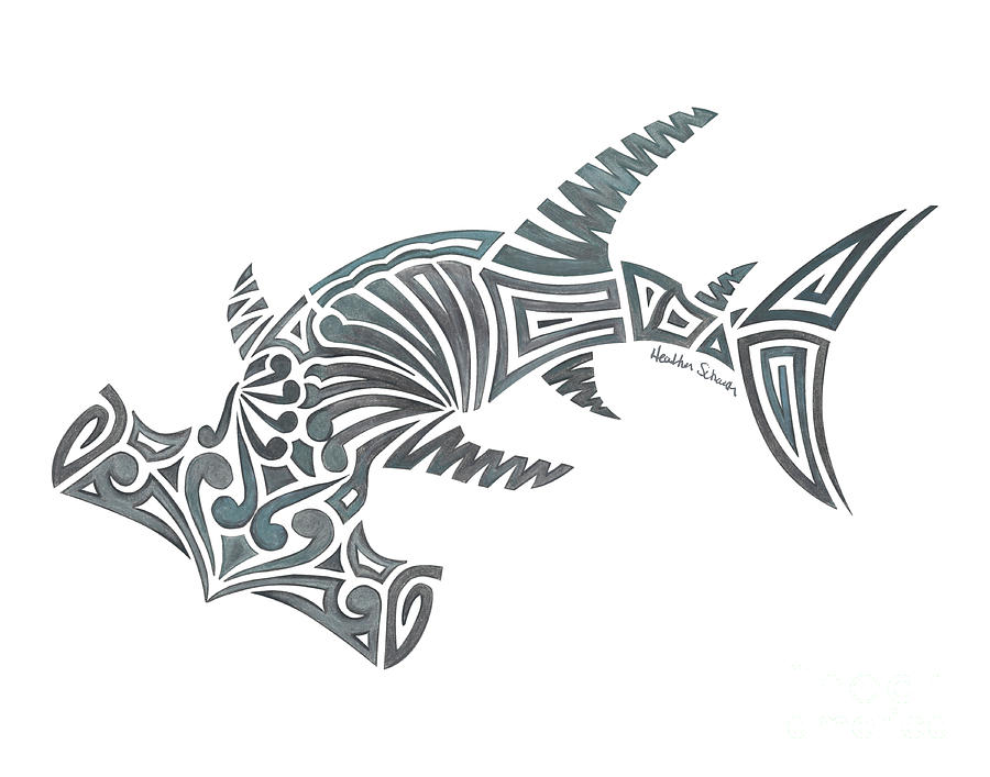 Tribal Hammerhead Shark by Heather Schaefer