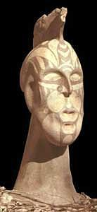 Warrior Ceramic Art - Tribal Head by Alberto Cidraes