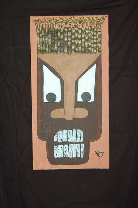 Mask Painting - Tribal Masks Set Of 2 by Dave Raya