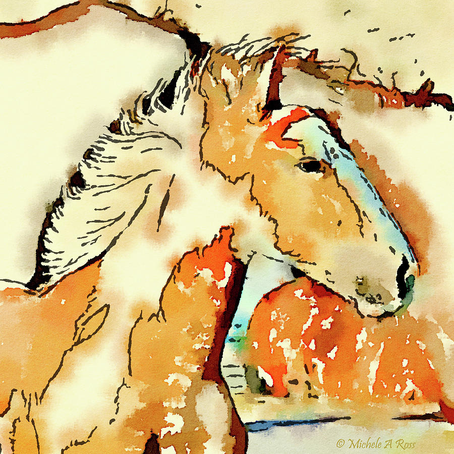 Horse Painting - Tribal Pony by Michele Ross