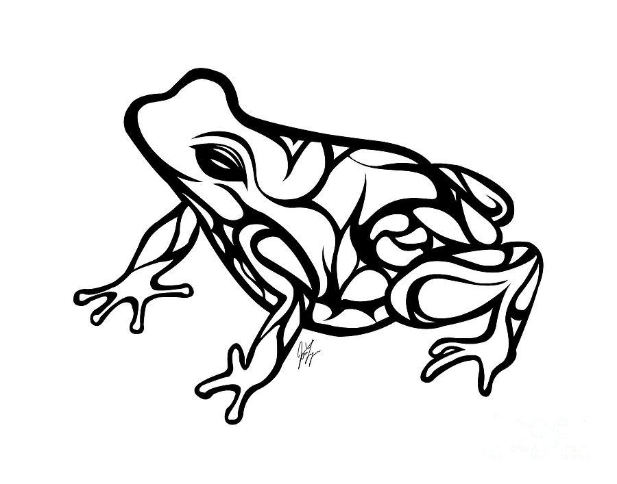 Frog Drawing - Tribal Ribbet  by Jamie Lynn