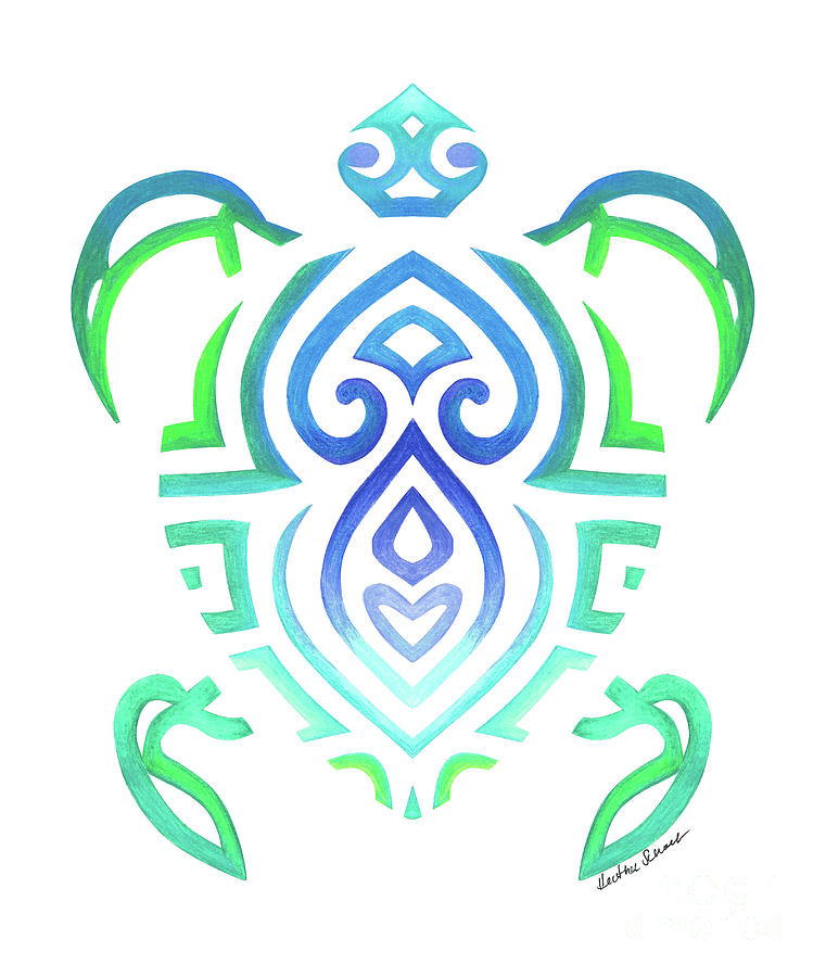 Tribal Turtle White Background by Heather Schaefer