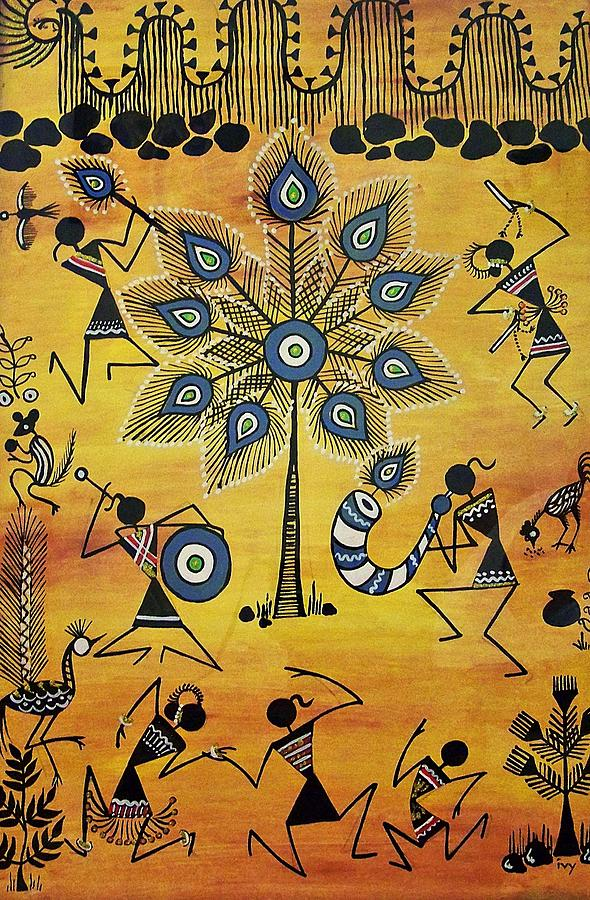 Indian Painting - Tribals II by Ivy Sharma