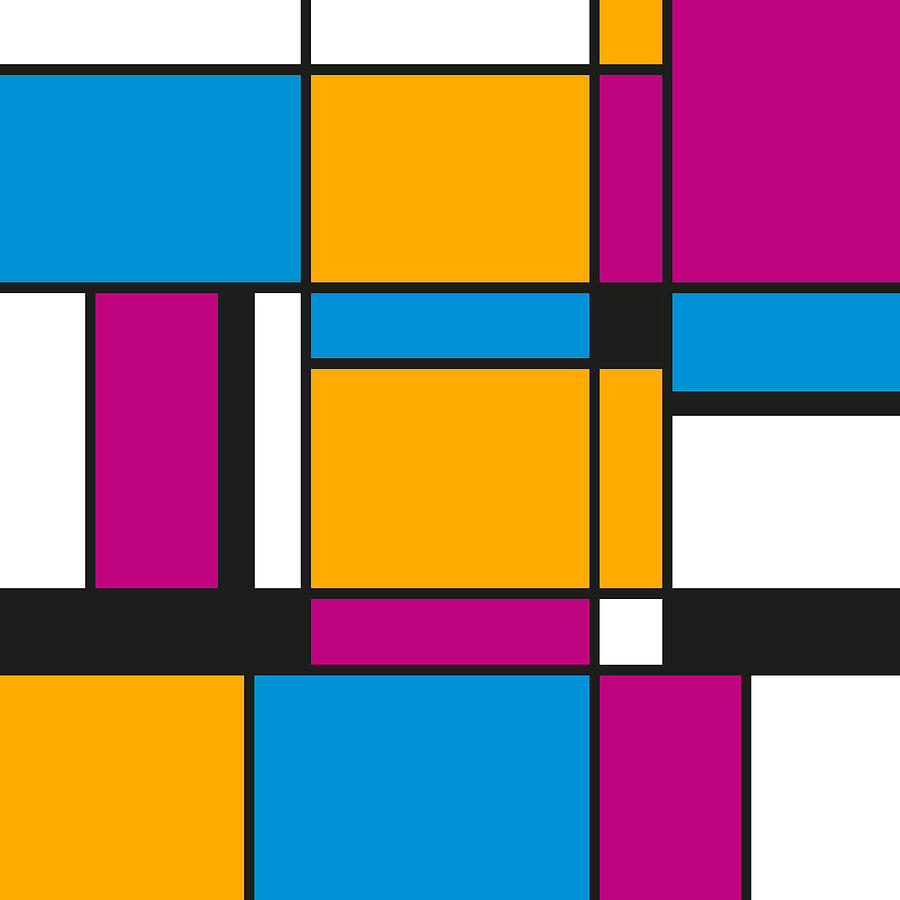 Tribute To Mondrian No3, Abstract Design Digital Art by Jirka Svetlik