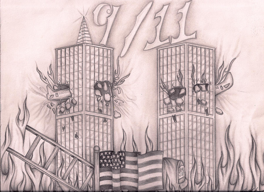 It's just a picture of Impertinent Twin Towers Drawing