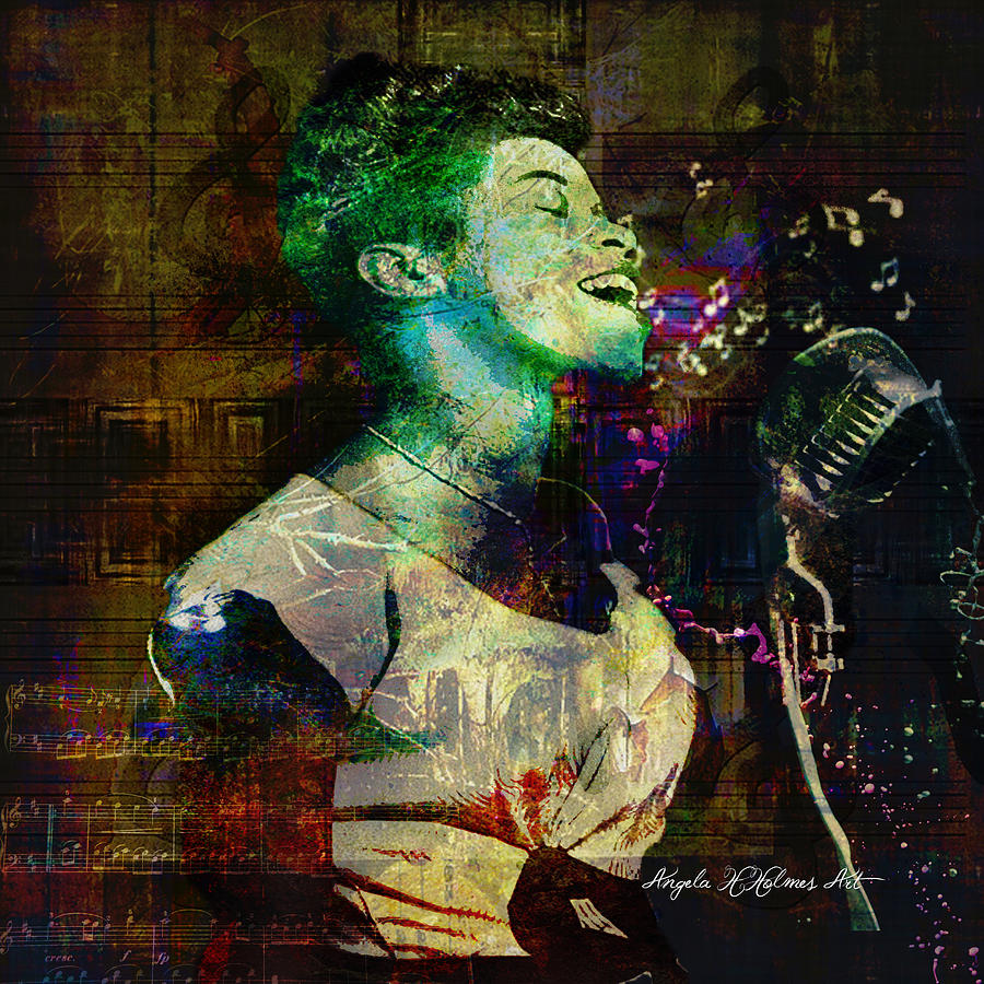 Singer Digital Art - Tribute To Sarah Vaughn by Angela Holmes