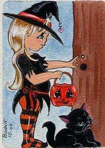 Trick Or Treat Painting by Bonnie Brewer