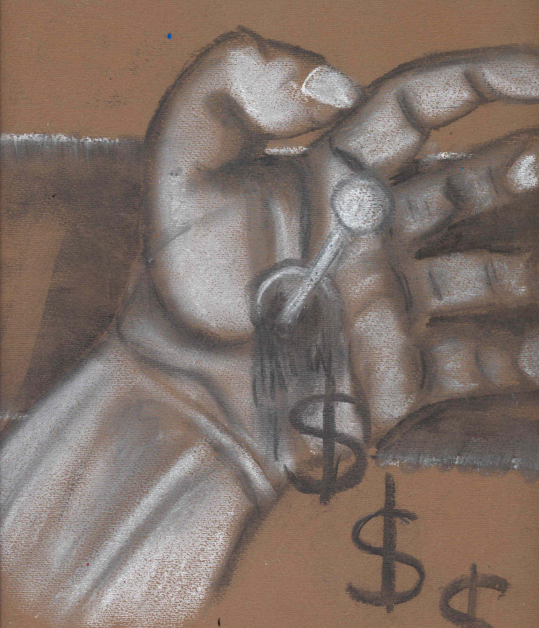 Chalk Drawing - Trickle Down Economics Rough Sketch  by Stuart Bracewell