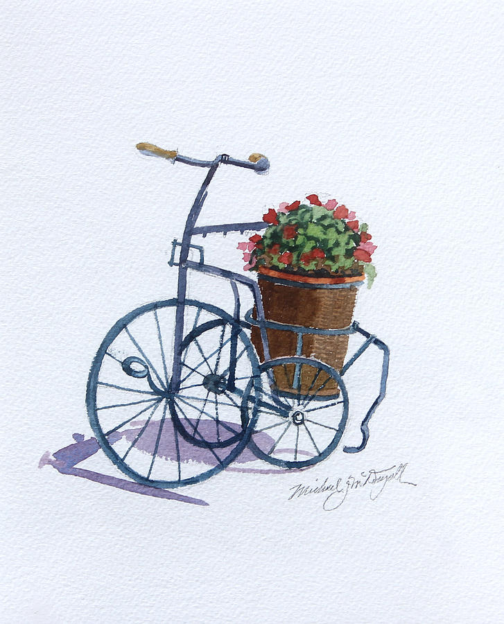 Tricycle Painting - Tricycle With Flowers by Michael McDougall