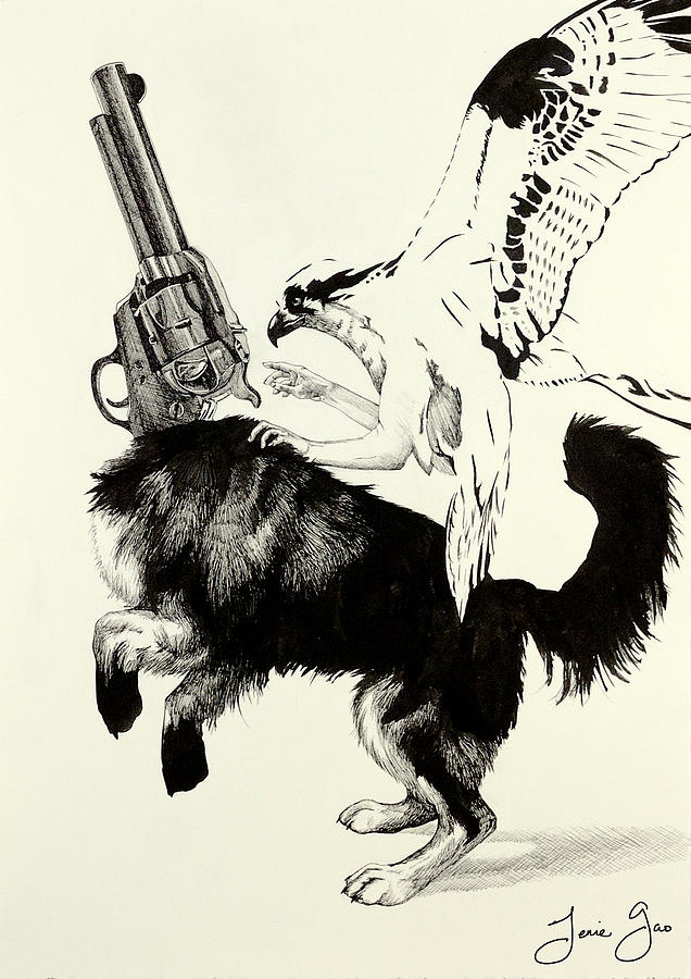Dog Drawing - Trigger Finger by Jenie Gao