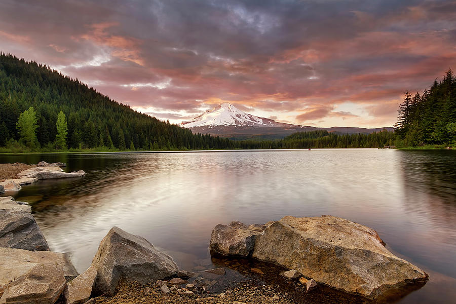 Trillium Lake Photograph - Trillium Lake Sunset by David Gn