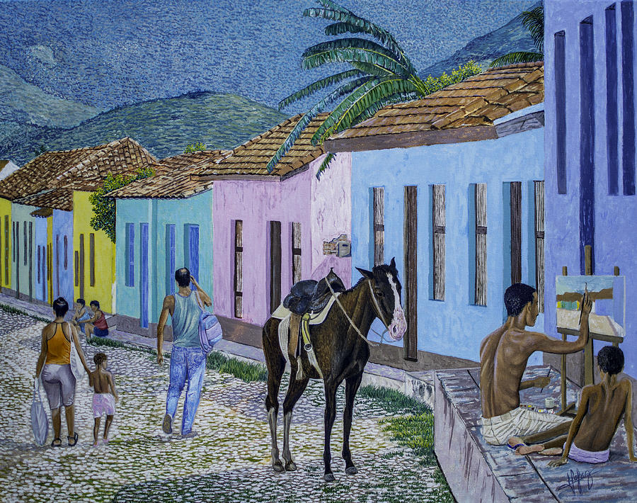 Trinidad Painting - Trinidad Lifestyle 28x22in Oil On Canvas  by Manuel Lopez