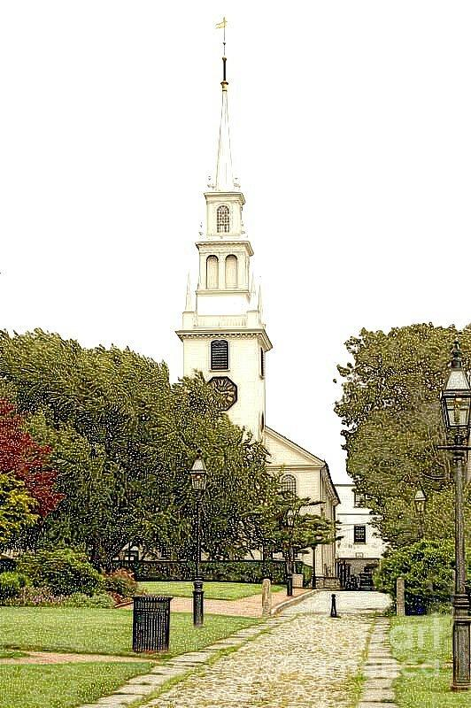 Diane Berry Digital Art - Trinity Church In Newport Ri by Diane E Berry