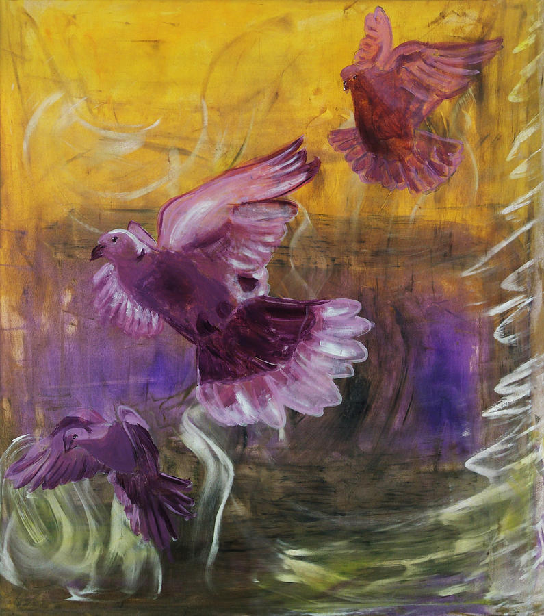 Birds Painting - Trinity of Contemporary Flying Dove Birds in Yellow Purple and Blue by MendyZ M Zimmerman