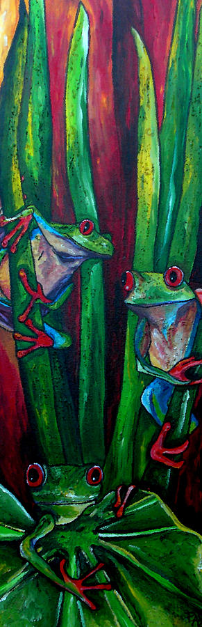 Tree Frogs Painting - Trinity Of Tree Frogs by Patti Schermerhorn