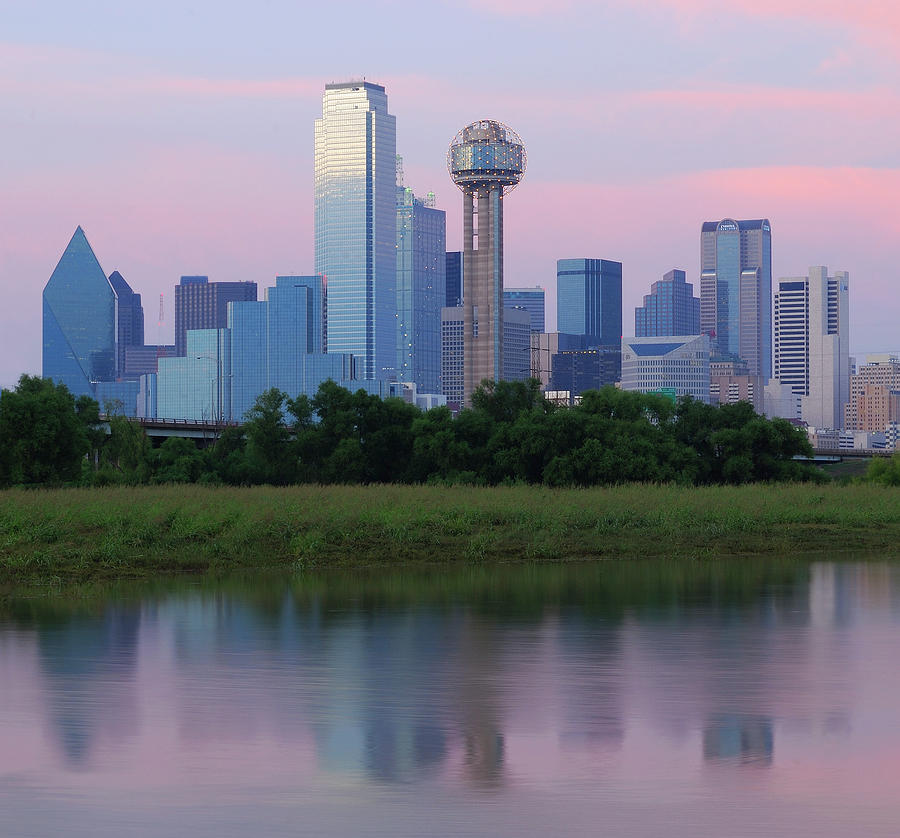 Horizontal Photograph - Trinity River With Skyline, Dallas by Michael Fitzgerald Fine Art Photography of Texas