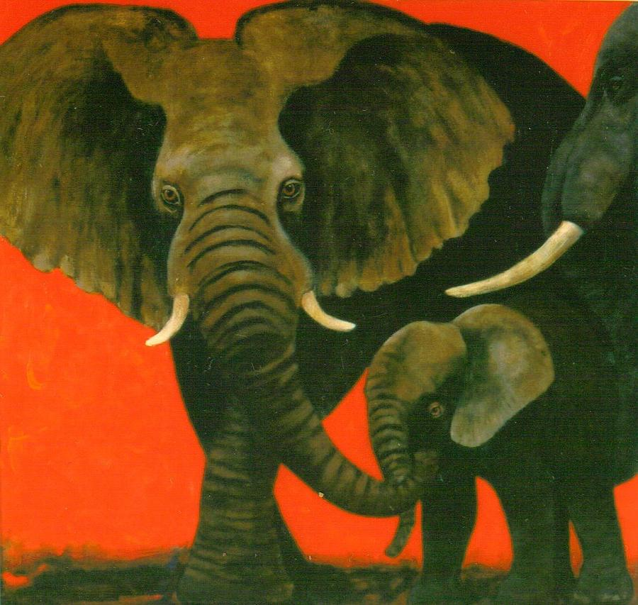 Elephants Painting - Trio by Christine McGinnis