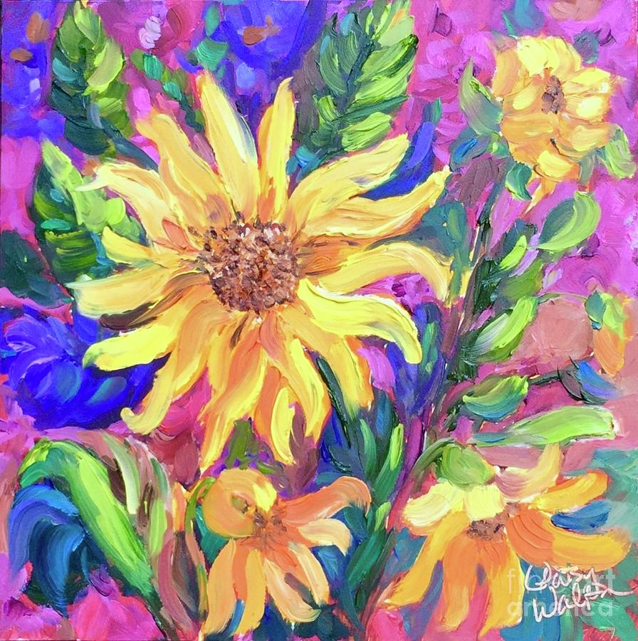 Daisies Painting - Trio by Patsy Walton