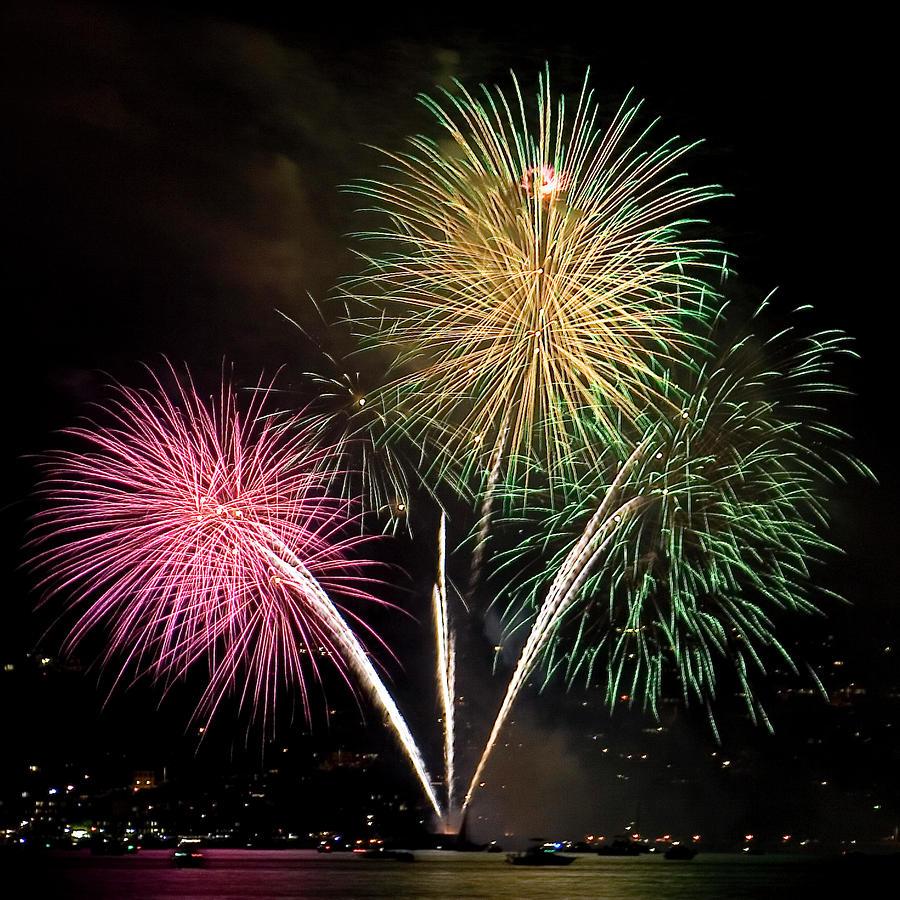 Fireworks Photograph - Triple Color by David Patterson