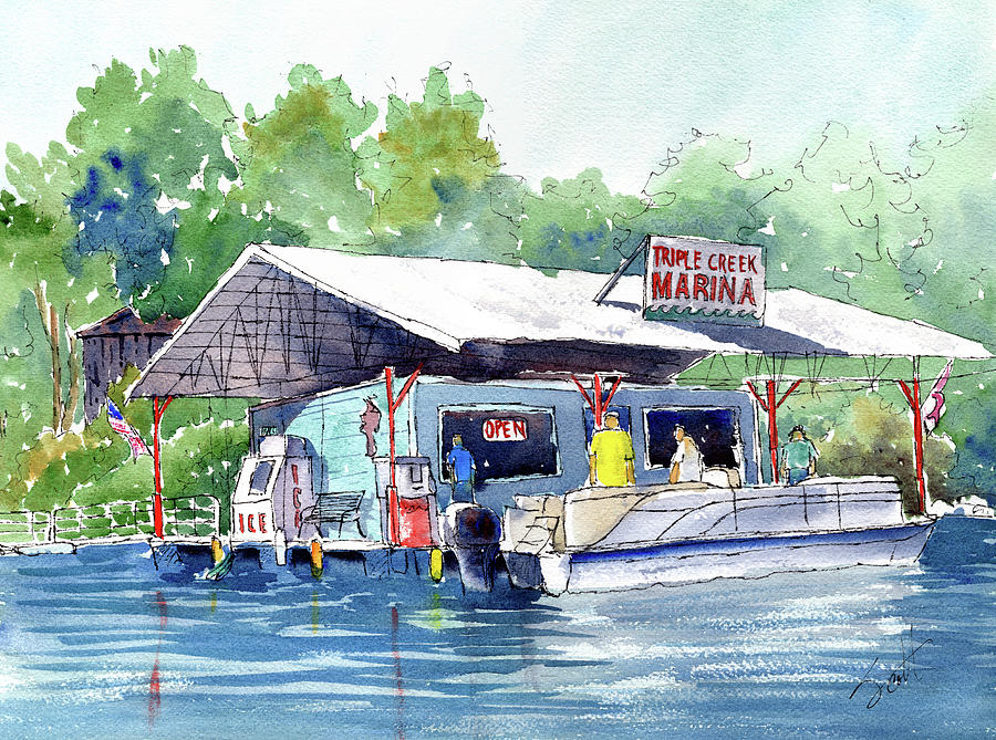 Boat Painting - Triple Creek Marina by Scott Brown