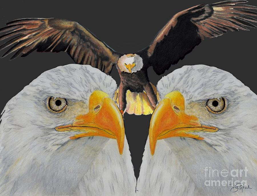Eagle Drawing - Triple Eagle by Bill Richards