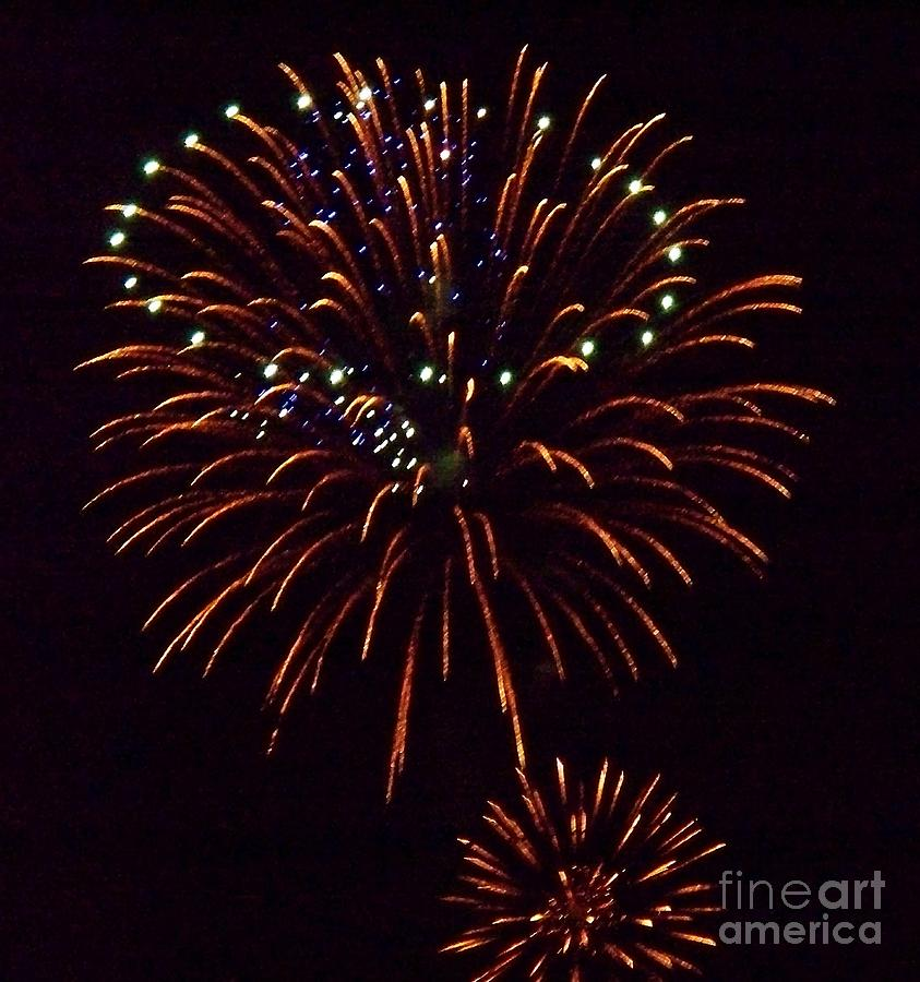 Fireworks Photograph - Triple Firework by Emily Kelley