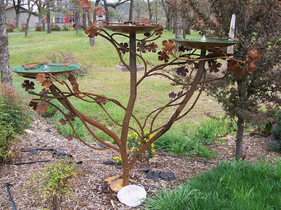 Birdbath Sculpture - Triple Fountain by John Jones