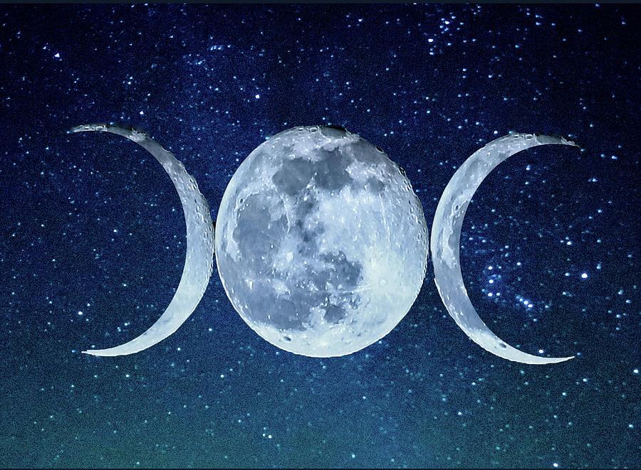 Triple Photograph - Triple Moon Milkyway by Paula OMalley