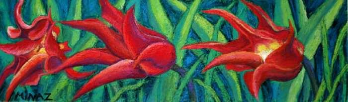 Triple Tease Tulips Painting by Minaz Jantz