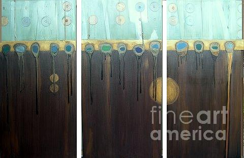 Triptych Painting - Tripped Out by Marlene Burns