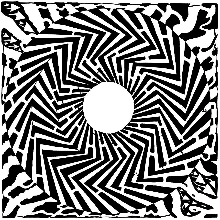 Swirly Drawing - Trippy Optical Illusion Swirly Maze  by Yonatan Frimer Maze Artist