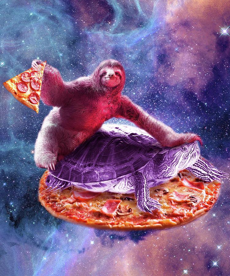 Trippy Digital Art - Trippy Space Sloth Turtle - Sloth Pizza by Random Galaxy