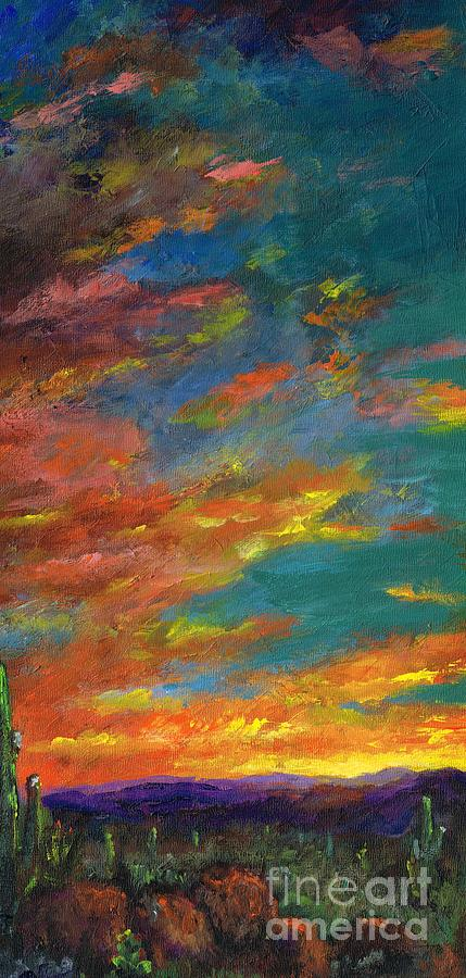 Desert Painting - Triptych 1 Desert Sunset by Frances Marino