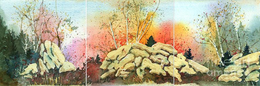 Landscape Painting - Triptych by Lynn Quinn