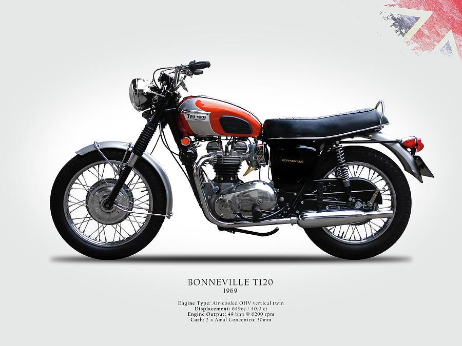T120 Photograph - Triumph Bonneville 1969 by Mark Rogan