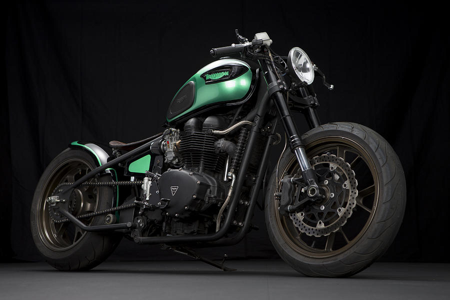 Triumph Photograph - Triumph Green Bobber by Keith May
