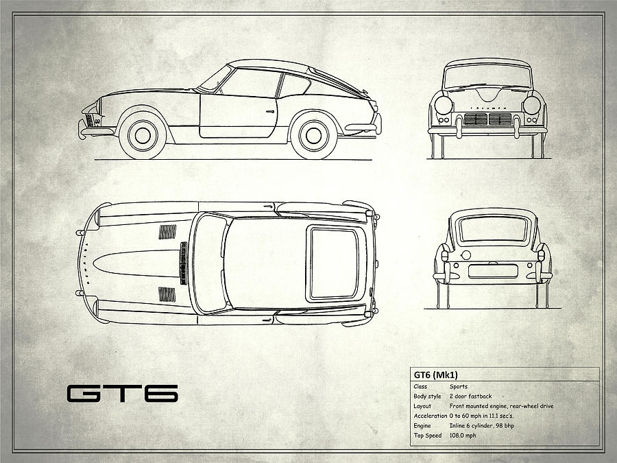 Triumph gt6 blueprint white photograph by mark rogan triumph gt6 photograph triumph gt6 blueprint white by mark rogan malvernweather Image collections