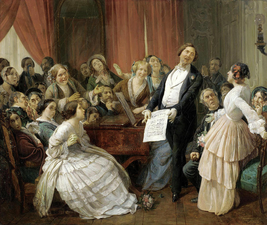 Triumph Of A Tenor At A Musical Matinee Painting by Francois-Auguste Biard