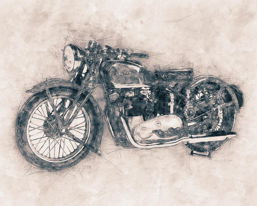 Triumph Speed Twin 1937 Vintage Motorcycle Poster Automotive