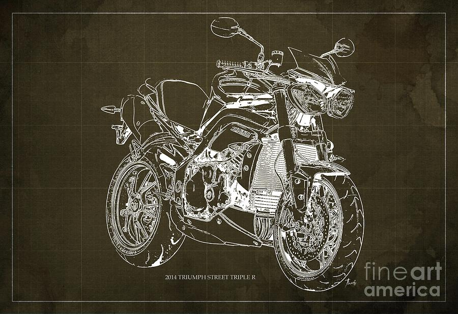 2014 Drawing - Triumph Street Triple R, 2014 Motorcycle blueprint Brown background Gift for dad by Drawspots Illustrations