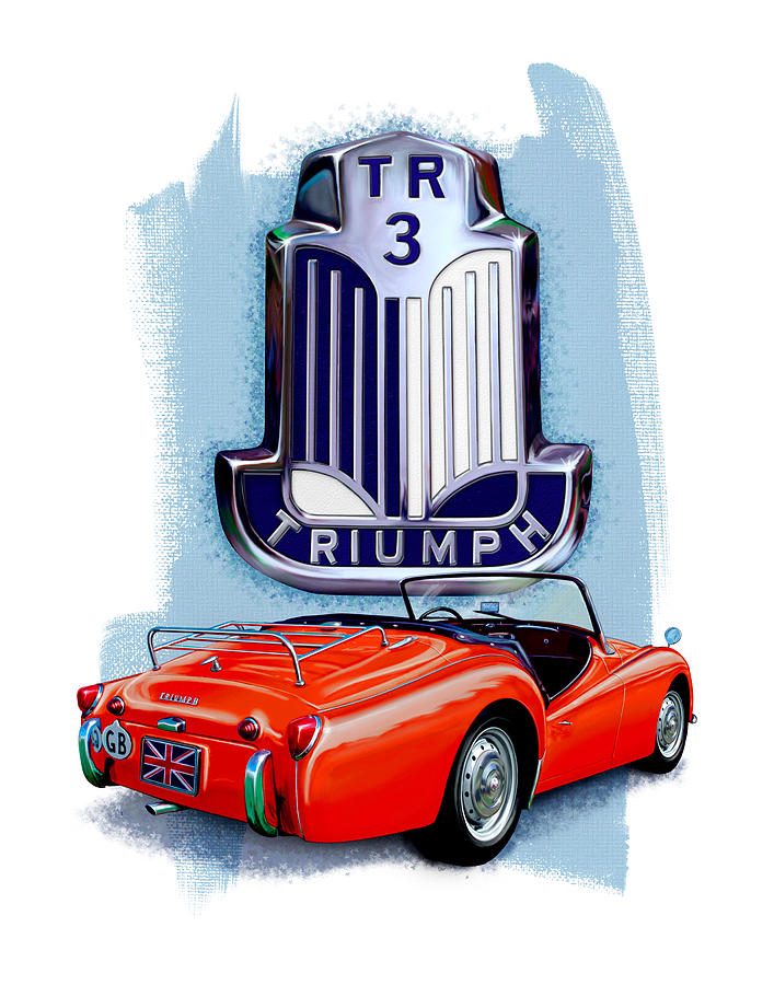 Triumph Digital Art - Triumph TR-3 Red by David Kyte