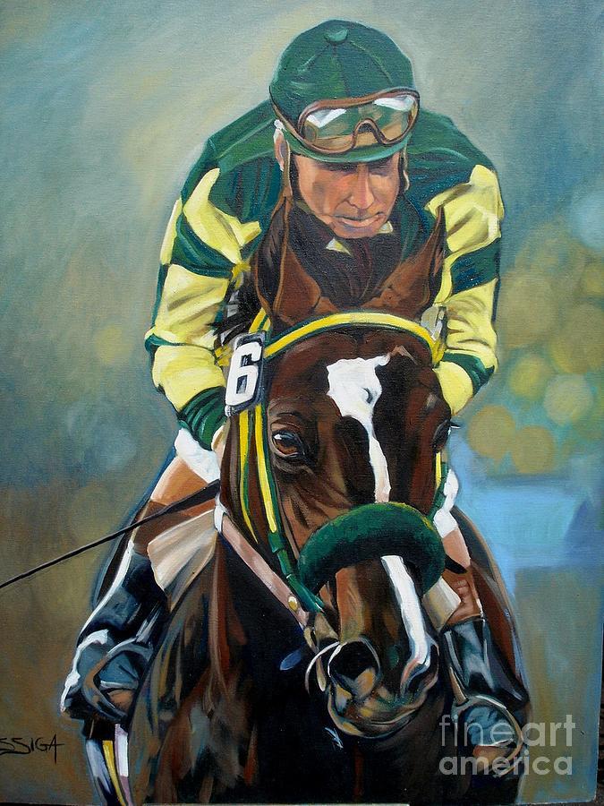 Horse Painting - triumphant Jockey by Sabrina Siga