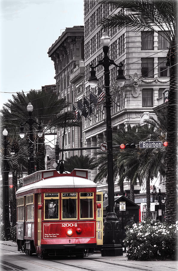 Nola Photograph - Trolley On Bourbon And Canal  by Tammy Wetzel